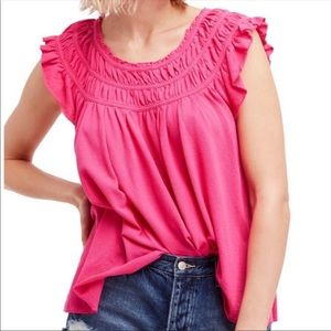 Free People Hot Pink Coconut Blouse Top L NWT